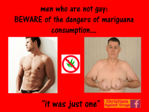 "Beautiful, Church, and Drugs: men who are not gay:  BEWARE of the dangers of mariguana  consumption  it was just one  Christians  Against Drugs  bong You are leaving Church on a beautiful sunny morning. You turn a corner, and a man of foreign descent suddenly approaches you and puts a weed needle in your hand.  ""n-no"" you stammer, but it is too late. A ""toke"" has wafted into your lungs.   Mariguana causes rapid breast growth in men and can kill women instantly. Just Say No. - Agnes x"