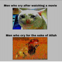 Movie, Sake, and Who: Men who cry after watching a movie  Men who cry for the sake of Allah  Il 😤😤😤