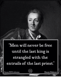 "Memes, 🤖, and Corn: ""Men will never be free  until the last king is  strangled with the  l entrails of the last priest.  Denis Diderot  corn/WFLA  theism"