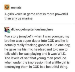 They lose. Their. Minds.: menats  A girls voice in game chat is more powerful  than any us marine  didyougetmysteriousimagines  Fun story (maybe?): when I was younger, my  brother was super duper into COD and he is  actually really freaking good at it. So one day,  he gave me his mic headset and told me to  talk while he was playing and it was WILD.  The levels of salt that young men produce  when under the impression that a little girl is  destroying them in COD is a beautiful thing. They lose. Their. Minds.