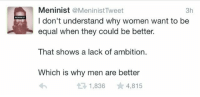 "Memes, Supreme, and Http: Meninist @MeninistTweet  I don't understand why women want to be  equal when they could be better.  3h  MENINIST  That shows a lack of ambition.  Which is why men are better  1,836 4,815 <p>Men reign supreme - BEGONE THOTS via /r/memes <a href=""http://ift.tt/2w4TpeS"">http://ift.tt/2w4TpeS</a></p>"