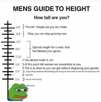 "5,4 kms: MENS GUIDE TO HEIGHT  How tall are you?  6'6""  Too tall. People see you as a freak.  -64"" t  okay you can stop growing now  6'2""  Optimal height for a male. God  has blessed your genes.  6'0  59  3 You almost made it, son  -5'8""于At this point tall women are unavailable to you  3 This is as short as you can get without disgracing your gender  于Enjoy being treated condescendingly and having to chase short women for the rest of your life  57  5.6""  -5.4""  于are you even trying?  -  jurassie brah 5,4 kms"