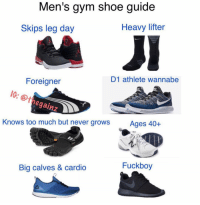 Fuckboy, Gym, and Memes: Men's gym shoe guide  Heavy lifter  Skips leg day  D1 athlete wannabe  Foreigner  le  @thegainz  Knows too much but never growsAges 40+  Fuckboy  Big calves & cardio Tbt