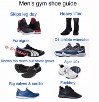 Fuckboy, Gym, and Memes: Men's gym shoe guide  Heavy lifter  Skips leg day  D1 athlete wannabe  Foreigner  IG: @t  gainz  Knows too much but never grows  Ages 40+  Fuckboy  Big calves & cardio Tbt