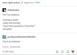 "Death, Fireworks, and Mens Rights: mens-rights-activia skypevevo Follow  alrightanakin  The Four Seasons  -freezing to death  -pollen and humidity  -were those gunshots or fireworks?""  pumpkins  goodbyeandthanksforallthefish  This is so Americarn  Source: alrightanakin  53,328 notes the four seasons"