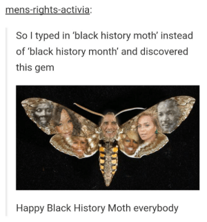 Black History Month, Black, and Happy: mens-rights-activia:  So I typed in 'black history moth' instead  of 'black history month' and discovered  this gem  Happy Black History Moth everybody Black History Moth