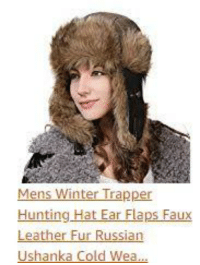 Mens Winter Trapper Hunting Hat Ear Flaps Faux Leather Fur Russian Ushanka  Cold Wea  d1f0586f8bf