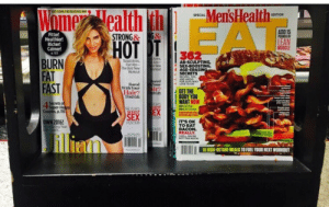 earlpostsaboutwhatever:  the-football-chick:  brakehage:  i'm laughing and crying  haha All of society's neurotic gender conventions summed up in the random placement of magazines….Iconic  …there are SO MANY THINGS wrong with this that I don't even know where to start. : Men'sHealth  EAT CLEAN THE DELIKIOUS WAY  SPECIAL  BES  ADD 15  Fitter!  Healthier!  Richer!  Calmer!  STRONG& G&  LEAN  MUSCLE  36  BURN  FAT  FAST  AB-SCULPTING  SEX-BOOSTING  AGE-ERA  SECRETS  Flat Abs-  The Best New  t New  RECIPES TIPS  Bored  LOVE TO EA  With Your ir  4 GET THE  Hair?  3 Fresh Cuts  BODY YOU  IWANT NOW  Secrets o  Couples, p.115  OWN 2016!  THE YE  SEX TO  ITS OK  TO EAT  BACON.  REALLY  POSITION  ng Your  illiam  18 HIGH-OCTANE MEALS TO FUEL YOUR NEXT WORKOUT earlpostsaboutwhatever:  the-football-chick:  brakehage:  i'm laughing and crying  haha All of society's neurotic gender conventions summed up in the random placement of magazines….Iconic  …there are SO MANY THINGS wrong with this that I don't even know where to start.