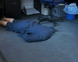 Tumblr, Blog, and Grey: mentaltimetraveller:Sofia Hultén, Grey Area. 12 Attempts to hide in an office environment, 2001 (Videostill)