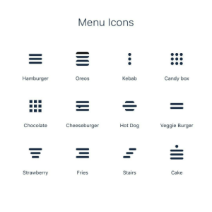More menu icons!: Menu Icons  Hamburger  Oreos  Kebab  Candy box  Hot Dog  Cheeseburger  Veggie Burger  Chocolate  Fries  Strawberry  Stairs  Cake  •III  00 More menu icons!