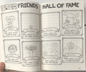 My Friends Hall of Fame: MEO FRIENDS HALL OF FAME  Drood  Xorzick  Andrew  Billy  George  MOST LIKELY TO  ACCIDENTALLY WEAR  MOST LIKELY TO FALL  ASLEEP IN CLASS  MOST LIKELY TO  BECOME PRESIDENT  PAJAMAS TO SCHOOL  MOST LIKELY TO FAINT  AT THE SIGHT OF BLOOD,  SEGA D  Chonks  Chris  १  Tree  MOST LIKELY TO SET  MOST LIKELY TO  BECOME A BILLIONAIRE  A WORLD RECORD  MOST LIKELY TO  JOIN THE CIRCUS  MOST LIKELY TO BE UN  A REALITY TV SHOW  24  25  LO My Friends Hall of Fame