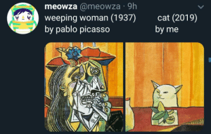 Pablo Picasso, Picasso, and Irl: meowza @meowza 9h  weeping woman (1937)  by pablo picasso  cat (2019)  by me  D Me_irl