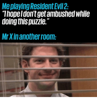 """Memes, Evil, and 🤖: Meplaying Resident Evil 2  """"Thopeldon't get ambushed while  doing this puzzle.""""  MrXinanotherroom: ( ͡° ͜ʖ ͡°)"""