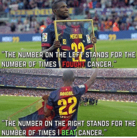 """Memes, Cancer, and 🤖: MERC ABU  FP  """"THE NUMBER ON THE LEFT STANDS FOR THE  NUMBER OF TIMESIFOUGHT CANCER  GWORLDFOOTBALLVIDS  ABIDAL  unice  """"THE NUMBER ON THE RIGHT STANDS FOR THE  NUMBER OF TIMES IBEAT CANCER. Goosebumps... ☝🏽❤ EricAbidal 🙏🏽"""