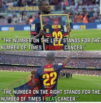 "Abidal 🙌❤️ Credit ➡️ @worldfootballvids: MERCI ABU  THE NUMBER ON THE LEFT STANDS FOR THE  NUMBER OF TIMES I FOUGN CANCER  ""THE NUMBER ON THE RIGHT STANDS FOR THE  NUMBER OF TIMES1BEAT CANCER. Abidal 🙌❤️ Credit ➡️ @worldfootballvids"