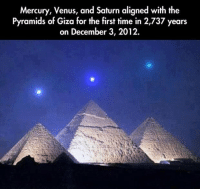 https://t.co/VTIBrbDLBW: Mercury, Venus, and Saturn aligned with the  Pyramids of Giza for the first time in 2,737 years  on December 3, 2012. https://t.co/VTIBrbDLBW