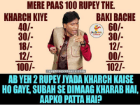 Indianpeoplefacebook, Bach, and Gay: MERE PAAS 100 RUPEY THE  KHARCHKIYE  BAKI BACHE  40/-  60/  30/  30/  18/  12/  00/-  12/  102/-  100/  laughin  Conou  Com  AB YEH2RUPEY JYADA KHARCH KAISE  HO GAYE SUBAHSEDIMAAGKHARABHAI,  AAPKO PATTA HAI? Kya Aapke Paas Hai Jawab Hai.. ??