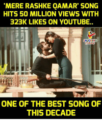 best song: MERE RASHKE QAMAR SONG  HITS 50 MILLION VIEWS WITH  323K LIKES ON YOUTUBE..  LAUGHINO  ONE OF THE BEST SONG OF  THIS DECADE