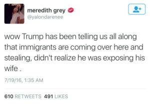 tiredting:  PLEASE : meredith grey  @yalondarenee  wow Trump has been telling us all along  that immigrants are coming over here and  stealing, didn't realize he was exposing his  wife  7/19/16, 1:35 AM  610 RETWEETS 491 LIKES tiredting:  PLEASE