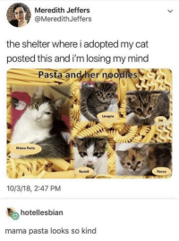 Pasta and her noodles: Meredith Jeffers  @MeredithJeffers  the shelter where i adopted my cat  posted this and i'm losing my mind  Pasta andyher noodles  Lasagna  Ziti  Mama Pasta  Raviol  Penne  10/3/18, 2:47 PM  hotellesbian  mama pasta looks so kind Pasta and her noodles