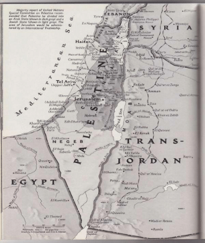 land-of-maps:  1947 National Geographic issue had a map of Palestine. [700x1,280]CLICK HERE FOR MORE MAPS!: Merj Uyun.  E BANON  Majority report of United Nations  Kiswe ETH  Special Committee on Palestine recom  mended that Palestine be divided into  an Arab State Ghown in dark gray) and a  Jewish State (shown in light gray. The  area of Jerusalem would be odminis Q  tered by an International Trusteeship  Banivas  Dan Caesarva Philippi)  En Naqura  -Mesmlye  Nawa  Haif  Athit  makh  Jebet ed Drut  Plain of Esdacton Tell  Irbid  Er  fule  JCaesarea  Natanya  rash Gerar  patr  Joppa) Jaffa  Es Salt  Oal'at ez Zerga  fydda  Amman  Ekron Agir  Stt Haarava  erusalem Gearge  Ashdod) Isdud  ElMajda  Bethlehe  Ashkelon Gath  Asc  Qal at ed Dab'a  DhibanhaneZebib  TellJe  Edh Dhahrives  KhanYun  Tellel  Fara Beersheba  Er Rabba  «El Kerak İEiQatrani  Arish  El Khalasa.  N E G E B  T R AN S -  Asluj  Khirbet  et Tannür  El Auja  Subeita sos  Et Tafila  .EBuseira  Ousaima  AinQadeis  Feinan  Bir  -Hasana  1 Ghamr  Oal at Aneiza  E G Y PT  Petrax  Wadi Musa  . El Jafr  Maan.  Dilagha  GhadirefHaj  gbel  El Kuntilla-  Ashtar  kh.  lOuweira  El Themed  ll el Khalifa  -Wadier Retem  Ramla land-of-maps:  1947 National Geographic issue had a map of Palestine. [700x1,280]CLICK HERE FOR MORE MAPS!
