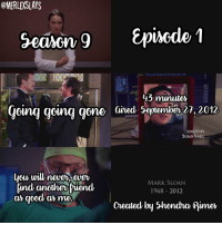 The black screencap is 2001 and it goes with derek and Marks picture 🖤- Adriana: @MERLEXSLAYS  &pincode 1  Season g  43 minuter  ding going gone ained September27, 2012  EDITED BY  SUSAN VAILL  MARK SLOAN  Rind another Fiend  1968 2012  good armer  created by Shondna Rimer The black screencap is 2001 and it goes with derek and Marks picture 🖤- Adriana