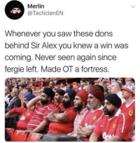 😂😂😂 https://t.co/b7uhJ9i4nD: Merlin  @TacticienEN  Whenever you saw these dons  behind Sir Alex you knew a win was  coming. Never seen again since  fergie left. Made OT a fortress. 😂😂😂 https://t.co/b7uhJ9i4nD