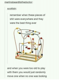 Funny, Shit, and Best: merlinsbearditsthedoctor:  scottish  remember when these pieces of  shit were everywhere and they  were the best thing ever  and when you were too old to play  with them you would just randomly  move one when no one was looking