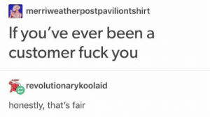 Fuck You, Fuck, and Been: merriweatherpostpaviliontshirt  If you've ever been a  customer fuck you  revolutionarykoolaid  honestly, that's fair