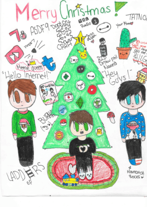 """chococat543:  Merry Christmas guys! 🎄🎁 I made this Dan and Phil drawing with a bunch of 2015 references (if you get them your awesome). @danisnotonfire @amazingphil I hope you like it 😊: Merry Christmas  cry  18 ASDF9 Dots  TATNO:  Your Mum  Radio 1  Pinor7  CRAFF  Reme queen  """"Hello Internet!""""  Anyr  Call mé .  RIP  Draw phil  Naked  PHILG  Hey  Goys!  Dans Phil  Sapha  Ladder  SHO  BURHA  LADDERS  ερ  Mismatch  8OCKS chococat543:  Merry Christmas guys! 🎄🎁 I made this Dan and Phil drawing with a bunch of 2015 references (if you get them your awesome). @danisnotonfire @amazingphil I hope you like it 😊"""