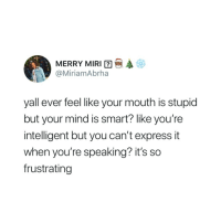 Express, Mind, and Smart: MERRY MIR12 @  @MiriamAbrha  #  yall ever feel like your mouth is stupid  but your mind is smart? like you're  intelligent but you can't express it  when you're speaking? it's so  frustrating
