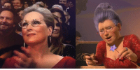 9gag, Dank, and Funny: Meryl Streep dresses like the Fairy godmother from Shrek.  https://9gag.com/gag/aMjjrwR/sc/funny?ref=fbsc