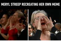 9gag, Dank, and Meme: MERYL STREEP RECREATING HER OWN MEME Classic meme will never fade!  https://9gag.com/tag/oscars?ref=fbpic