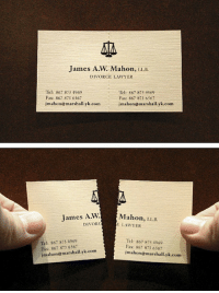 <p>Divorce lawyers business card.</p>: mes A.W. Mahon, LB  DIVORCE LAWYER  Tel: 867 873 1969  Fax: 867 873 6567  jmahon@marshallyk.com  Tel: 867 873 4969  Fax: 867 873 6567  İnahon@marshall., k.com  James A.W.  DIVOR  Mahon, LLB.  LAWYER  Tel: 867 873 4969  Fax: 867 873 6567  İmahon@m rshall.yk.com  Tel: 867 873 4969  Fax: 867 873 6567  İmalonemarshall.vk.com <p>Divorce lawyers business card.</p>