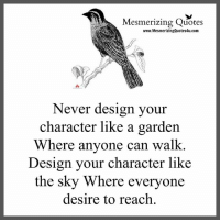 Memes, 🤖, and Sky: Mesmerizing Quotes  www.MesmerizingQuotes4u.com  Never design your  character like a garden  Where anyone can walk.  Design your character like  the sky Where everyone  desire to reach Adorable Quotes