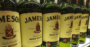 Facts, Irish, and St Patrick's Day: MESO JAMES JAMES JAME JAA  Esxtablished  established  alade  hod  Established  Since rell  Trmph  IRISH WH  Sp  IRISH W o  Tripte Disl  IRISH WHISK  40%vol  TNE METD  IRISH WH  IRISH WHIS  TRIPLE DISTILLED MATURED&  STLER  Trple Distifle  101%OF  $IJ S  TRIPLE DISTILLED, MATURED BOTT  THE BOW ST, DISTILLERY, ON  WHISKEY  40%vol  IJ S  JJS  IFELA Fun Facts about Jameson Irish Whiskey on St. Patrick's Day : theCHIVE