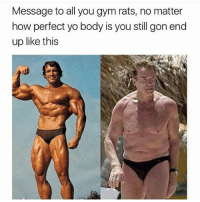 Memes, 🤖, and Gon: Message to all you gym rats, no matter  how perfect yo body is you still gon end  up like this You gon turn into mush..✌😂😂