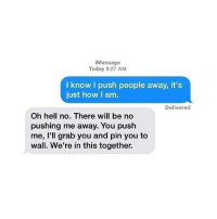 Memes, Today, and Hell: Message  Today 8:27 AM  I know I push people away, it's  just how I am  Delivered  Oh hell no. There will be no  pushing me away. You push  me, I'll grab you and pin you to  wall. We're in this together.