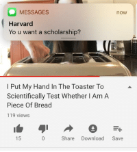 Has Science Gone Too Far?: MESSAGES  Harvard  Yo u want a scholarship?  now  I Put My Hand In The Toaster To  Scientifically Test Whether I Am A  Piece Of Bread  119 views  15  Share Download Save Has Science Gone Too Far?
