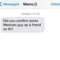 Messages  Mama  Tuesday 7:19 AM  Did you confirm some  Mexican guy as a friend  on fb?  Detail Mom-Stalker
