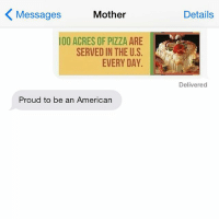 Pizza, American, and Jewish: Messages  Mother  100 ACRES OF PIZZA ARE  SERVED IN THE U.S  EVERY DAY.  Proud to be an American  Details  Delivered USA USA USA crazyjewishmom