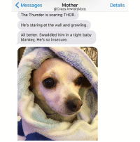 Baby, It's Cold Outside, Crazy, and Scare: Messages  Mother  @Crazy JewishMom  The Thunder is scaring THOR.  He's staring at the wall and growling  All better. Swaddled him in a tight baby  blankey, He's so insecure.  Details Aka a towel? cc: @assholethor crazyjewishmom