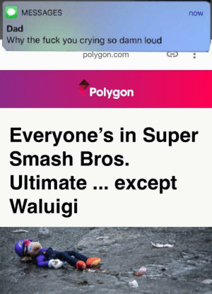 Crying, Dad, and Fuck You: MESSAGES  now  Dad  Why the fuck you crying so damn loud  polygon.com  Polygon  Everyone's in Super  Smash Bros.  Ultimate except  Waluigi browsedankmemes:  RIP Waluigi via /r/memes https://ift.tt/2JJl1L5