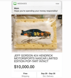 meirl: MESSAGES  now  Mom  Hope you're spending your money responsibly!  1/2  JEFF GORDON #24 HENDRICK  MOTORSPORTS NASCAR LIMITED  EDITION POP-TART INTACT  $10,000.00  Free  Shipping  Sep 29 Sep 30  Est. Delivery meirl