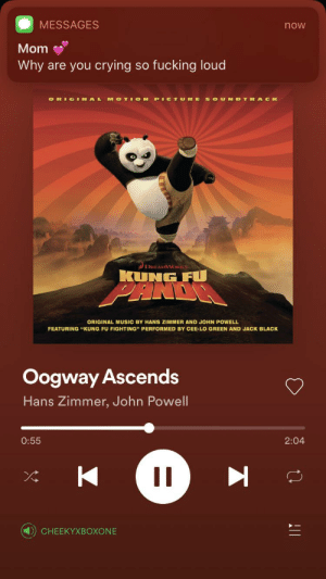 """Where boys became men.: MESSAGES  now  Mom  Why are you crying so fucking loud  OTI ON  SOUN DTRA C K  RE  ORIGINAL  M  PICTU  DREAMWORKS  KUNG FU  ORIGINAL MUSIC BY HANS ZIMMER AND JOHN POWELL  FEATURING """"KUNG FU FIGHTING"""" PERFORMED BY CEE-LO GREEN AND JACK BLACK  Oogway Ascends  Hans Zimmer, John Powell  0:55  2:04  