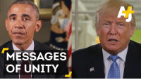 Memes, Unity, and 🤖: MESSAGES  OF UNITY Watch Obama and Trump appeal for a unified country on Thanksgiving.