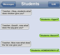 Memes, Teacher, and Chicken: Messages  Students  Edit  Teacher... Okay, students what  does chicken give you?  Students: Eggs!!!  Teacher Good!!.. now what  does the pig give you?  Students: Bacon  Teacher: Nice now what does  the fat cow give you?  Students: HOMEWORK!!!! :D