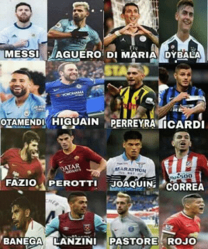 Good, Messi, and Qatar: MESSI-, AGUERO, DI MARIA DYBALA  Fly  OTAMENDHIGUAINPERREYRA ICARDI  QATAR  ARWAYS  MARATHON  FAZIO, A PEROTTI  JOAQUIN  BANEGA LANZINI PASTORE ROJO With a good coach this team is capable of anything!!!