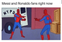 Messi, Ronaldo, and Irl: Messi and Ronaldo fans right now Me irl