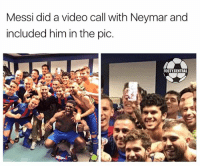 Memes, Neymar, and Messi: Messi did a video call with Neymar and  included him in the pic.  FOOTY CENTRAL Messi and Neymar 😂😂